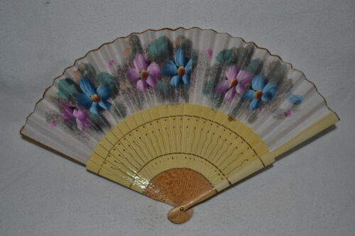 Vintage Hand Painted Wooden Chinese / Japanese Paper Fan w Large Purple Flowers