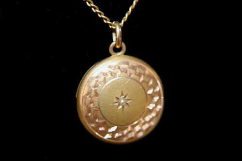 Antique Art Deco Solid 10K Yellow Gold Seed Pearl Locket Pendant 14K Chain