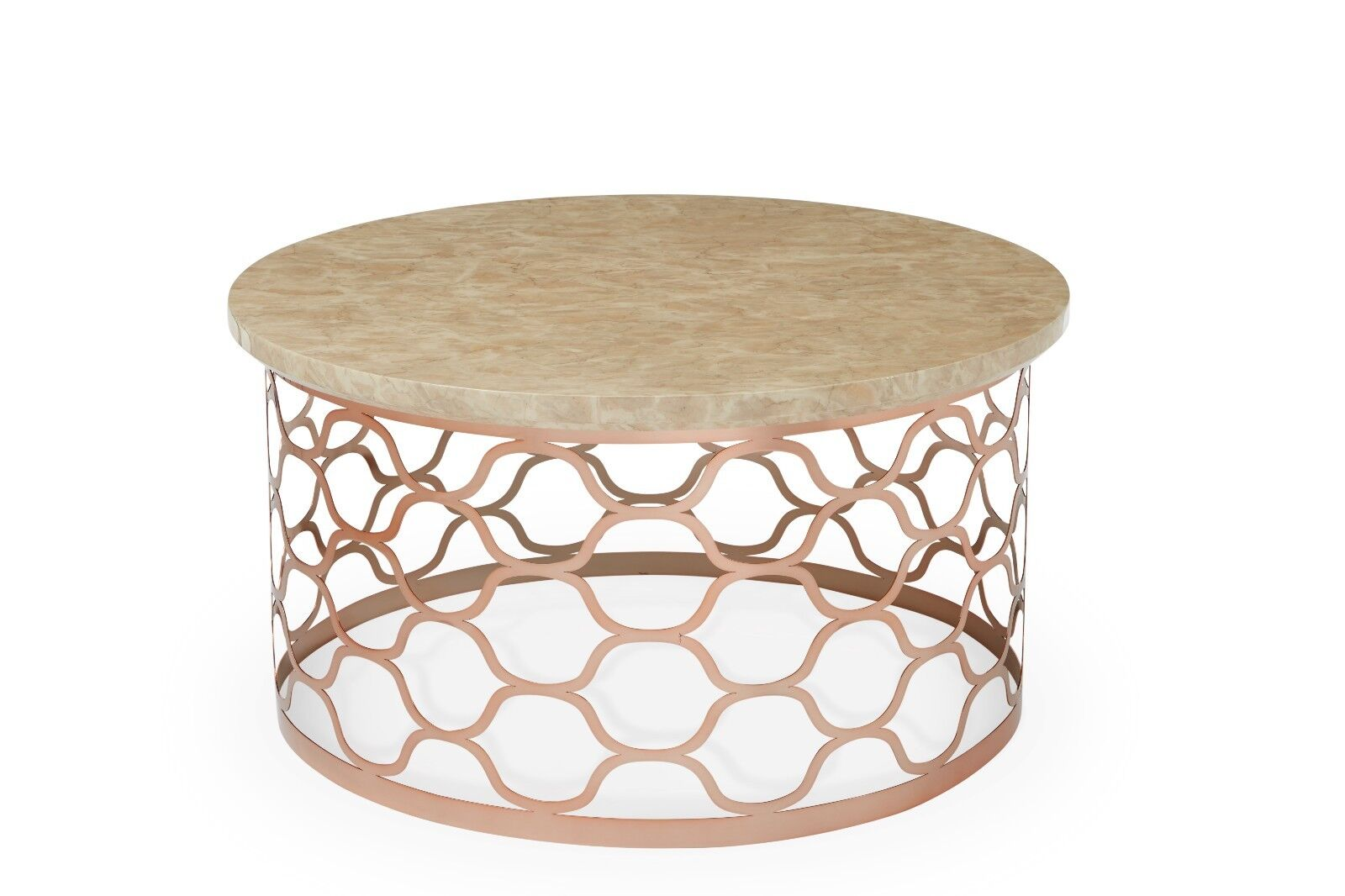 Lucille Round Coffee Table Replica Marble Rose Gold Metal Base Honeycomb Design