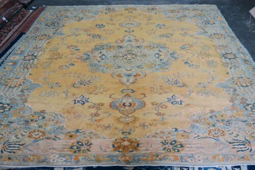 Vintage Turkish Sivas Yellow Area Rug Hand Knotted Wool 10