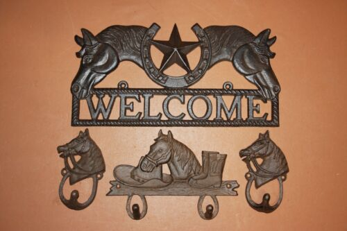 (4) Welcome Sign Western Star Horse Cowboy Theme Cast Iron, Western Skies