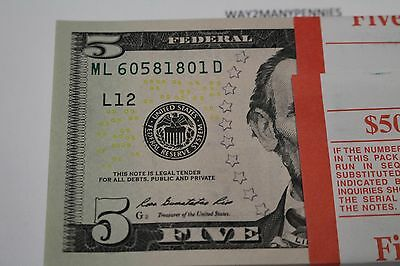 2013 20 New Uncirculated Five Dollar Bills Lot San Francisco L On Sale Till Gone