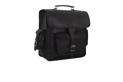 Macbook Pro Rucksäcke (Real Black Leather Backpack Laptop Bag 13
