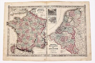 1864 France Belgium Map Paris Amsterdam Railroad Routes LARGE ORIGINAL