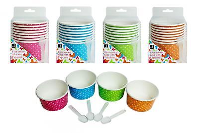 8 ICE CREAM TUBS 4 ASST COLOURS WITH PLASTIC SPOONS SUMMER PARTY BBQ PICNIC](Plastic Ice Tubs)