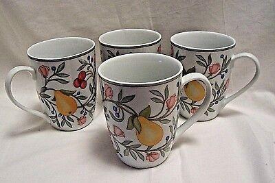 4 New Pfaltzgraff Beverage Mugs Cups Orchard Grove Fruits