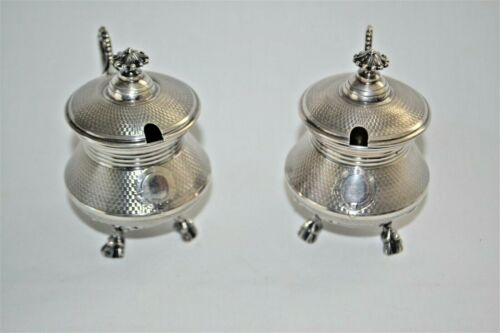 Pair Antique French Hand-Wrought Sterling Silver +  Mustard Pots Engine Turned