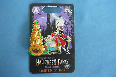 SCARY HALLOWEEN PARTY 2019  Disney pin BOO TO YOU Captain HOOK  LE  New on Card