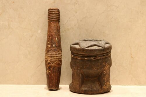 Antique Bedouin coffee grinder tribal ethnic wooden pestle middle east Mehbash