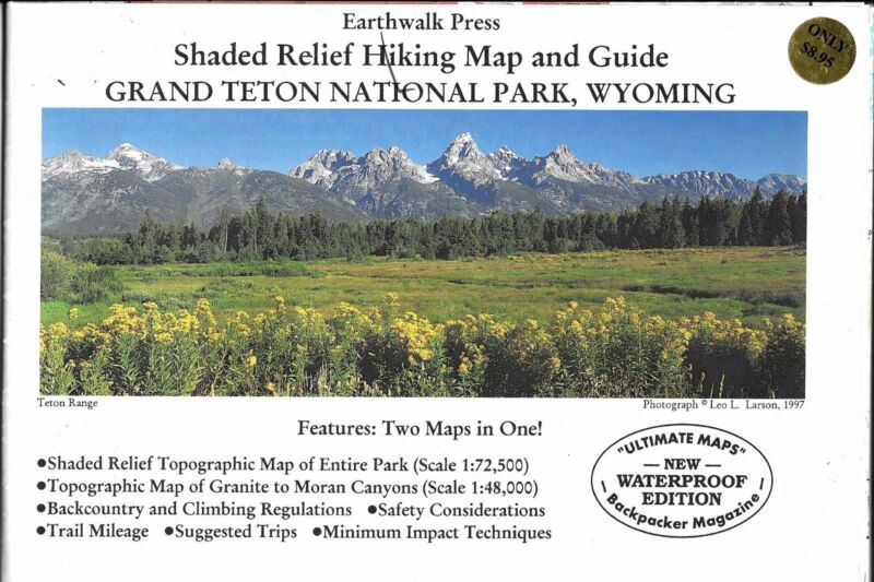 Shaded Relief Hiking Map & Guide, Grand Teton National Park, Wyoming Earth Walk