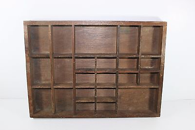 VINTAGE WOODEN SHADOW BOX KNICK KNACK SHELF 22 COMPARTMENTS Curio Cubbies