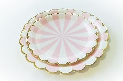 Set of 8 Pink White and Gold scalloped edge metallic dessert paper plate girl](Gold And White Paper Plates)