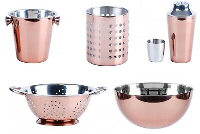 ROSE GOLD COOKING CHAMPAGNE ICE BUCKET BOWLS COLANDER COCKTAIL SHAKER DRAINER