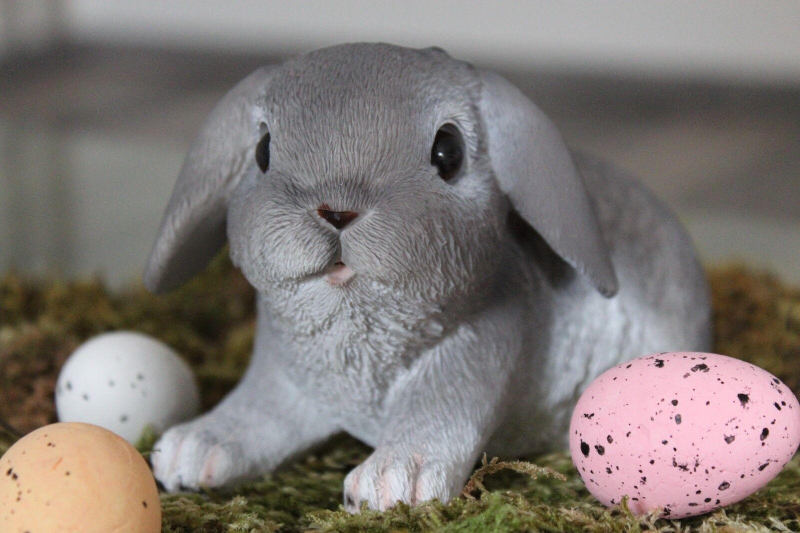 Deko Hase braun grau Gartenfigur Figur Ostern Tier Lebensecht Kaninchen Oster