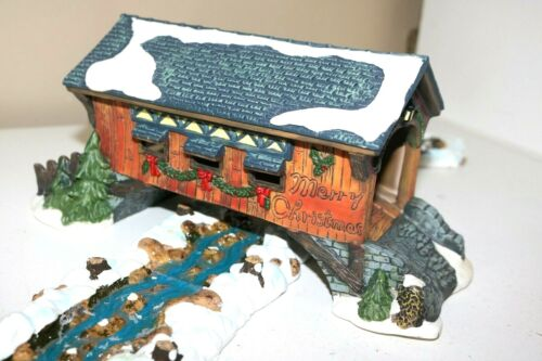 Holiday Time Christmas Village Covered Bridge set lot of 7