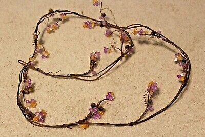 "Autumn Inspirations Fall Orange Purple Crystal Beads Grapevine Garland 66"""