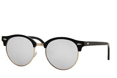 BUY 1 GET 1 FREE  Classic Semi-Rimless Half Frame Round Mirrored Lens (Buy Clubmaster Sunglasses)