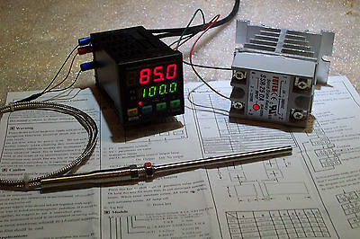 Digital Pid Temp Controller F C 25amp Ssr With-heatsink And Pt-100 Probe