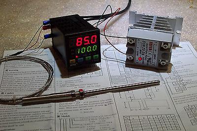 DIGITAL PID TEMP CONTROLLER  F & C  25AMP SSR WITH-HEATSINK AND PT-100 PROBE