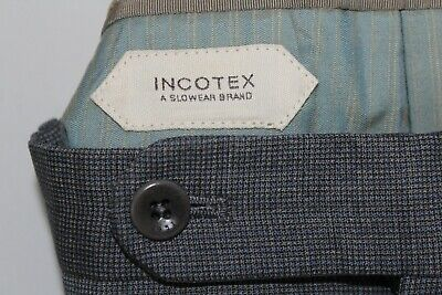 INCOTEX 40 X 30 Gray Flat Front Made in Romania 100's Wool Dress Pants