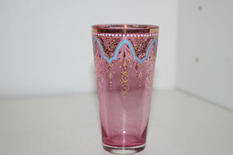 ANTIQUE HAND PAINTED ENAMEL VICTORIAN CRANBERRY GLASS VODKA TUMBLER-GOLD-MOSER B