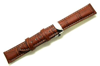 - 18mm Brown/White Croco Embossed Leather Watch Strap W/ Silver Push Button Clasp