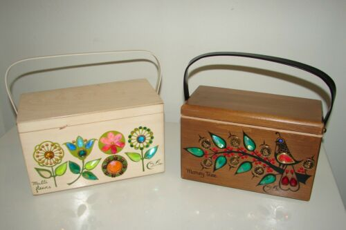 Vintage Enid Collins Lot (2) Wooden Box Purse Money Tree GUC & Multi Fleurs TLC
