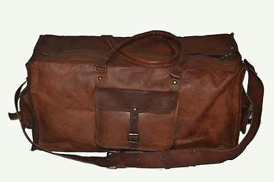 New Men's duffel genuine Leather large vintage travel gym Squre bag Duffle