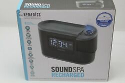 Homedics Sound Spa Recharged Alarm Clock W Projection 8 Nature Sounds SS-5080B