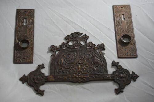 Antique Victorian Eastlake Cherub Door Hardware, 3 doorplates