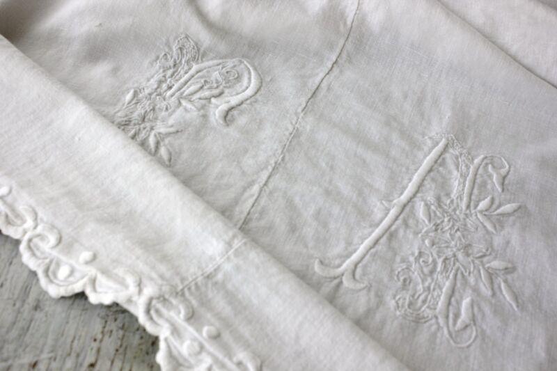 Vintage French Sheet cotton 70X115 FA white monogram SOFT linen cotton blend