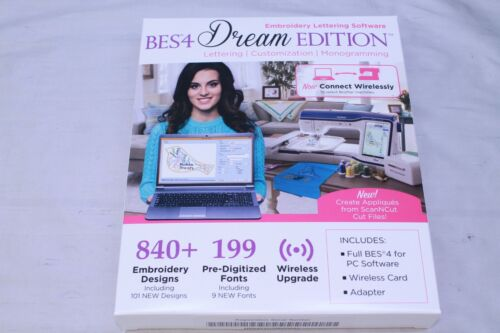 Brother BES4 Dream Edition FULL VERSION Embroidery & Lettering Software NEW BOX!