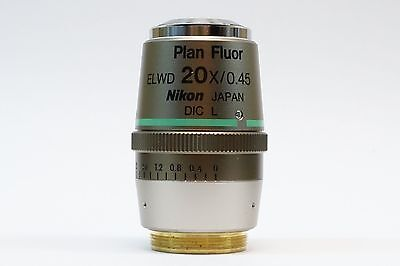 Nikon Plan Fluor Elwd 20x0.45 0-2 Wd 7.4 Dic L Microscope Objective