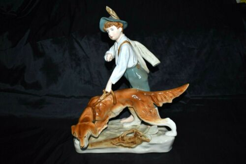 Vintage Royal DUX Sheperd with Dog Porcelain Sculpture Figurine LARGE Marked