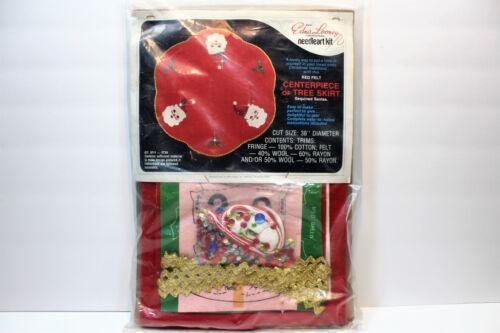 """Vintage Edna Looney Santa Wool Felt Sequin Christmas Tree Skirt Kit 38"""""""