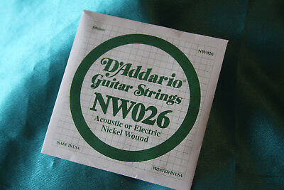 D'Addario Nickel Wound .026 Electric or Acous. Singles, NW026 ()