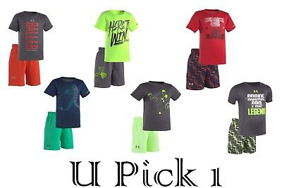 Under Armour Tee Shorts Set 2 pc Boys Outfit Athletic Sports Short Pants T Shirt Boys Sports Pant Set