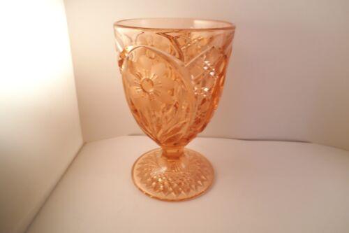 Vintage Pink Glass Etched Cut Flower Large Goblet