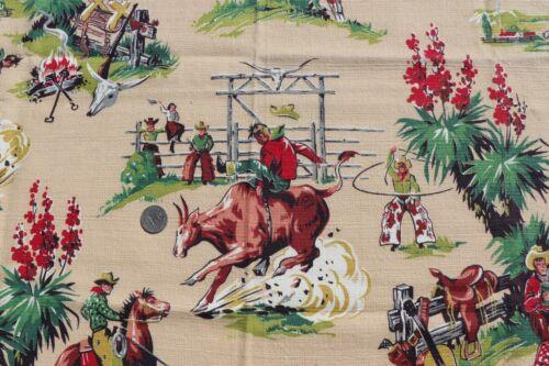 "Vintage c1940s American Cowboy Never Used Barkcloth Fabric~L-28"" X W-34"""