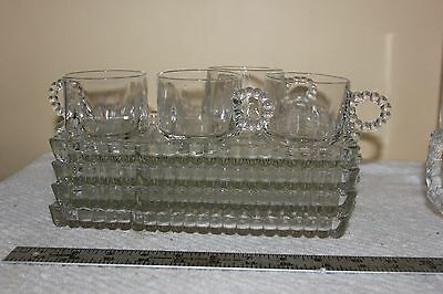 Vintage Hazel Atlas Glass Luncheon Snack Trays Bubble Candlewick Boopie Set of 4