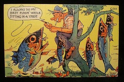 VTG FISHING HUMOR COMIC LINEN POSTCARD, I'M BRANCHING OUT MY FISHING