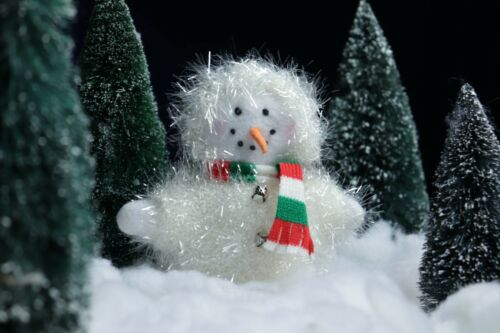 Sparkly Snowman with Scarf  Plush Ornament