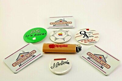 "Vintage MacIntosh Apple Co Advertising Lot of Pins Lighter (""stolen from Apple"")"
