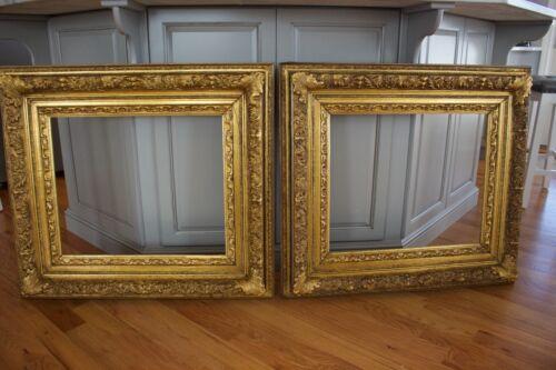 Spectacular Antique Pair Large Wood Gilt Gold Frames