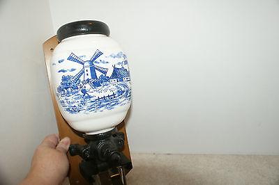 VINTAGE DELFT BLUE PORCELAIN COFFEE GRINDER HAND CRANK WALL MOUNT