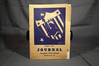 June 1945 Coughlin High School Journal Signed Patriotic Screen Printed Cover Art Screen Printed Journal
