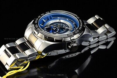 Invicta Mens 50mm S1 Rally Quartz Dual Time Two Tone Black Silver Bracelet Watch