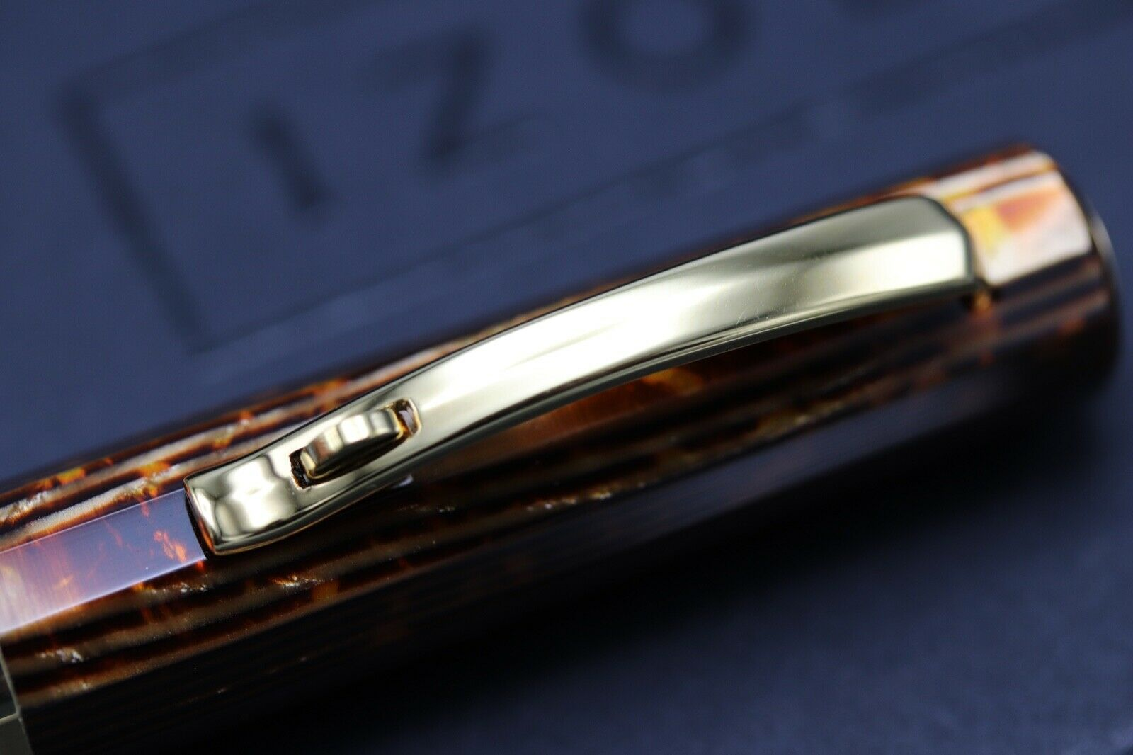 Omas Milord Arco Bronze Celluloid Gold Trim Ballpoint Pen 3