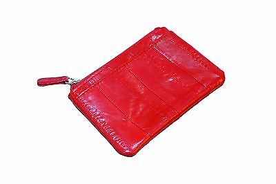 Genuine Eel Skin Leather - Small Rectangle Coin & Card Purse / Red