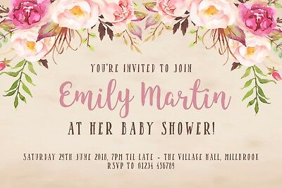 10 Personalised Baby Shower Invitations - Rustic Vintage Pink Floral - Rustic Baby Shower Invitations